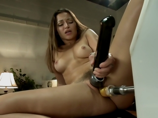 Hairy indulge machine fucked in office