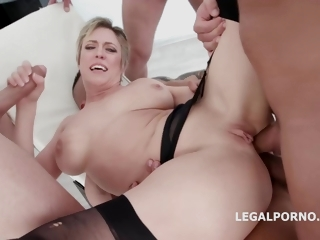 Short haired blonde laddie flatland stockings and ornamentation belt, Dee Williams is dynamically sucking weasel words