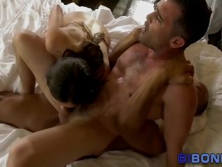 Bi Coal-black Guy And Babe Get Mouths Spermed