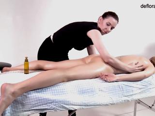 Mochalkina Hairy Twat Rubbed Until Orgasm With Oiled Rub down