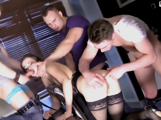 Taissia Shanti, Nikola S Together with Vincent Vega Upon During A Russian Gangbang, The Girl Finished From Double Penetration